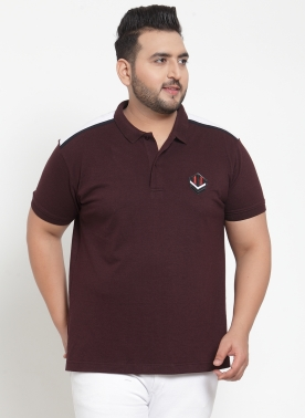 Men Maroon Printed Polo Collar T-shirt