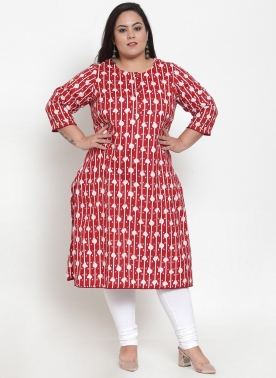 Women Red & White Printed Straight Kurta