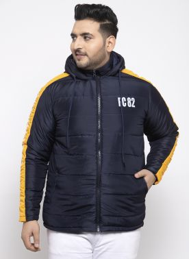 Men Yellow & Navy Colourblocked Bomber Jacket
