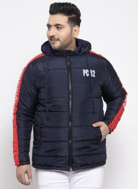 Men Navy Blue & Maroon Colourblocked Padded Jacket