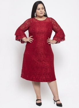 Women Red Solid Sheer A-Line Net Dress