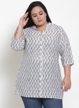 Women White & Black Printed Tunic
