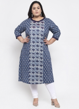 Women Navy Blue & Orange Printed A-Line Kurta
