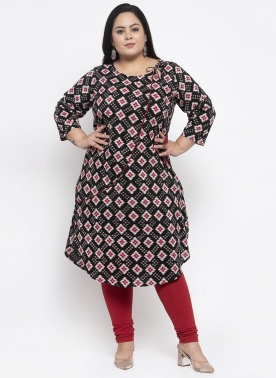Women Black & Yellow Printed A-Line Kurta