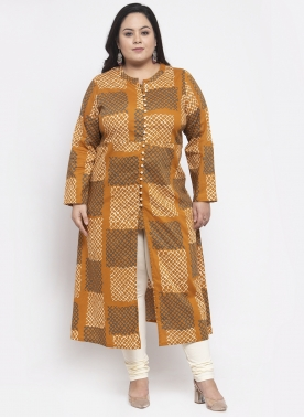 Women Mustard Yellow & White Printed A-Line Kurta