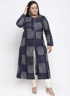 Women Navy Blue & Off-White Printed A-Line Kurta