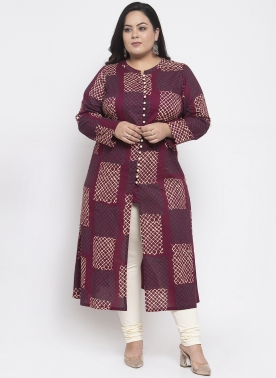 Women Wine Printed A-Line Kurta