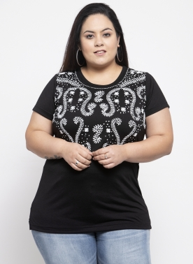 Women Black & White Printed Round Neck T-shirt
