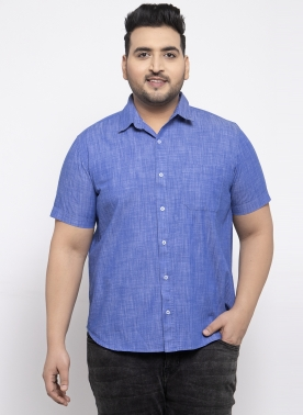 Men Blue Regular Fit Solid Casual Shirt