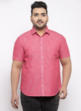 Men Pink Regular Fit Solid Casual Shirt