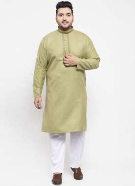 Men Green Solid Kurta with Pyjamas