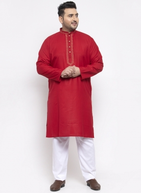 Men Red Solid Kurta with Pyjamas