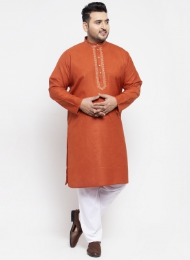 Men Rust Brown Solid Kurta with Pyjamas