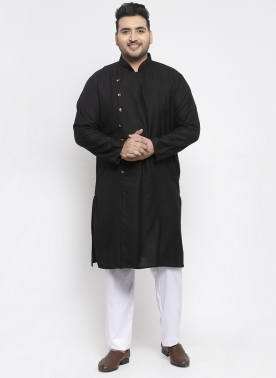 Men Black Solid Kurta with Pyjamas