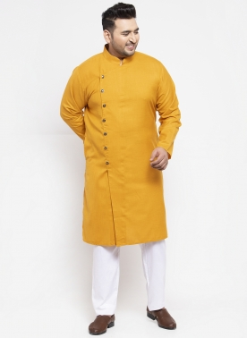 Men Mustard Yellow Solid Kurta with Pyjamas