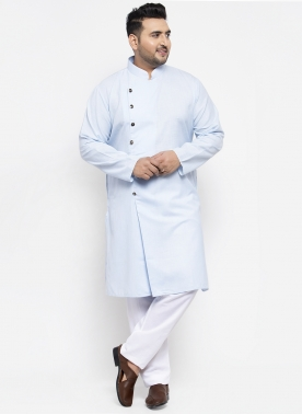 Men Blue Solid Kurta with Pyjamas