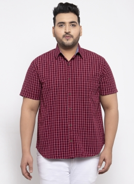 Men Maroon Regular Fit Checked Casual Shirt
