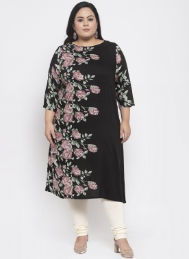 Women Black & Green Printed Straight Kurta