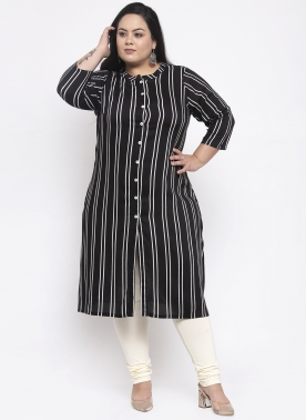 Women Navy Striped Straight Kurta