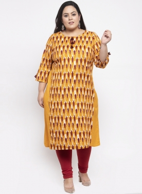 Women Mustard Yellow & Red Printed A-Line Kurta