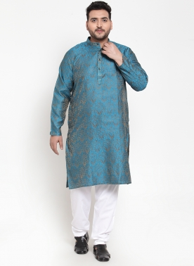 Men Green & Brown Cotton Design Straight Kurta