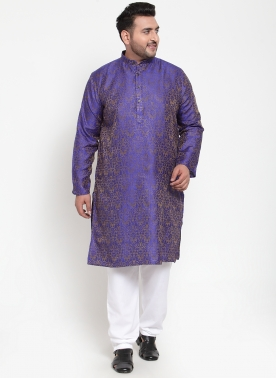 Men Navy Blue & Grey Printed Asymmetric Straight  Kurta