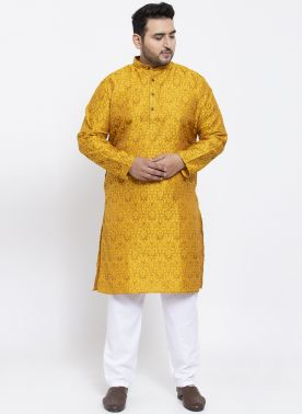 Men Yellow Printed Straight Kurta Pyjama