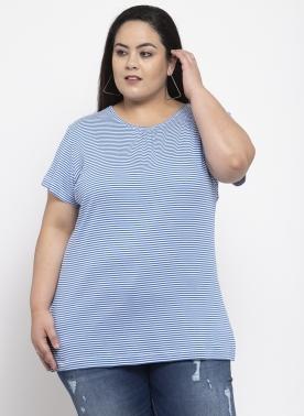 Women Blue Striped Round Neck T-shirt