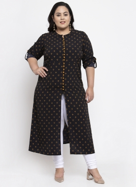 Women Black & Yellow Printed Straight Kurta