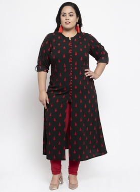Women Black & Red Printed Straight Kurti