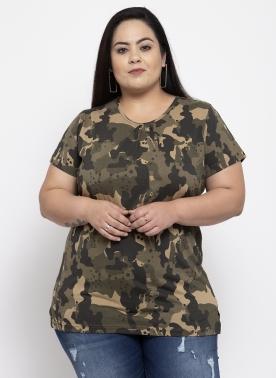 Women Olive Green Printed Round Neck T-shirt