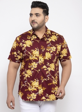 Men Maroon & Yellow Regular Fit Printed Casual Shirt
