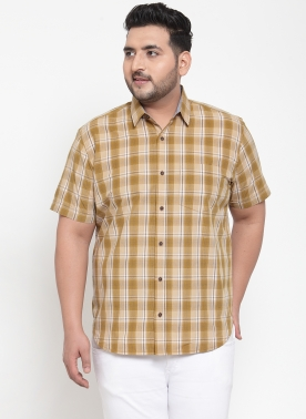 Men Cream-Coloured & Off-White Regular Fit Checked Casual Shirt