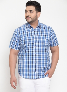 Men Blue & Grey Regular Fit Checked Casual Shirt