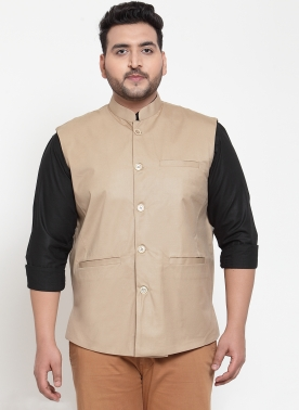 Men Beige Solid Nehru Jacket