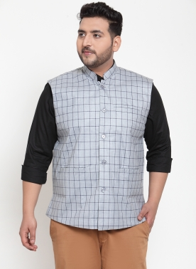 Men Grey Checked Woven Nehru Jacket