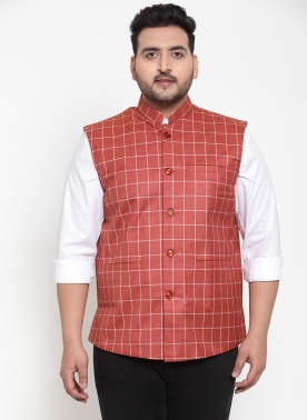 Men Pink Checked Woven Waistcoat