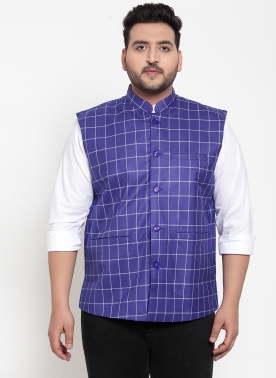 Men Blue Solid Nehrujacket