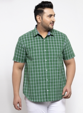 Men Green Regular Fit Checked Casual Shirt