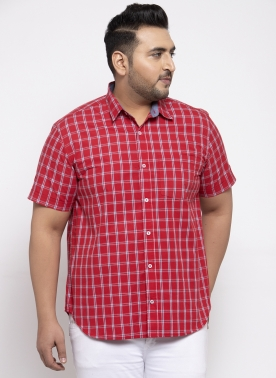 Men Red Regular Fit Checked Casual Shirt