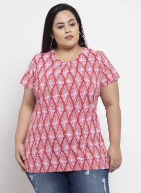 Women Pink Printed Round Neck T-shirt