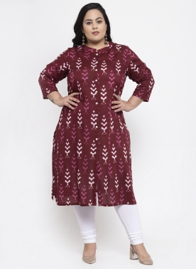 Women Red & Black Printed Straight Kurta
