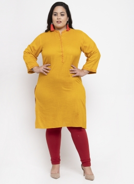 Women Mustard Yellow & Red Yoke Design A-Line Kurta