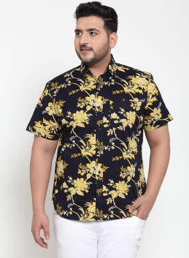Men Black & Yellow Regular Fit Printed Casual Shirt