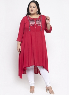 Women Red Yoke Design Anarkali Kurta