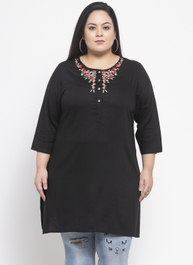 Women Black Solid Tunic