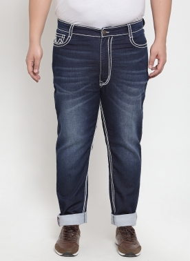 Men Blue Regular Fit Mid-Rise Clean Look Jeans