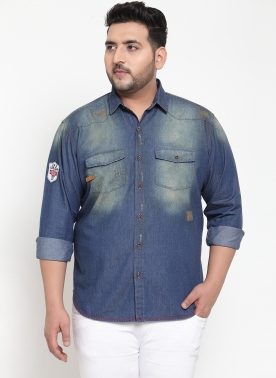 Men Blue Regular Fit Faded Denim Casual Shirt