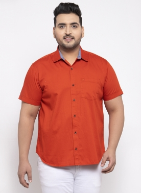 Men Rust Orange Regular Fit Solid Casual Shirt