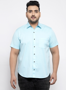 Men Turquoise Blue Regular Fit Solid Casual Shirt